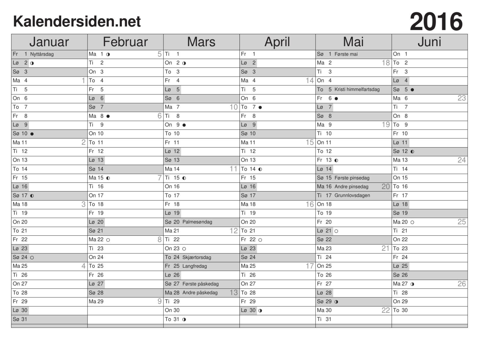 Kalender 2016 Med Ukenr | Search Results | Calendar 2015